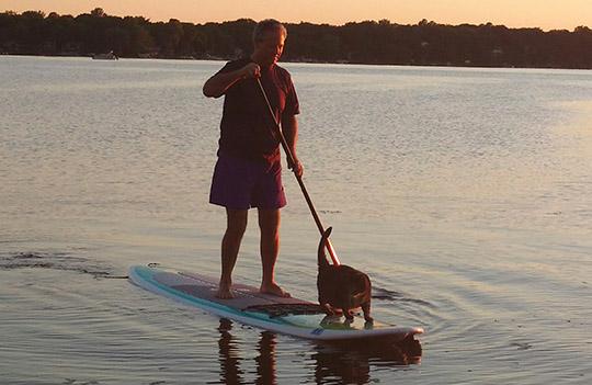 paddleboarding cat